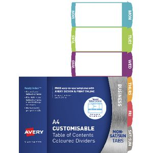Avery Ready Index Mon-Sat Dividers 6 Tab