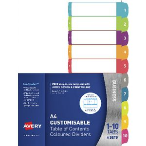 Avery Table of Contents Dividers 1-10 Tabs
