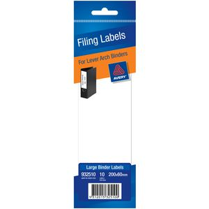 Avery Write-On Lever Arch Filing Labels Large White 10 Pack