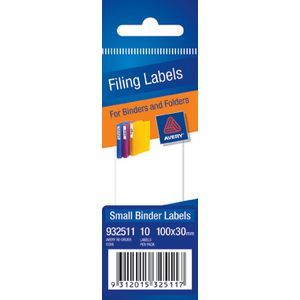 Avery Write-On Lever Arch Filing Labels Small White 10 Pack