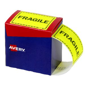 Avery Fragile Labels 75 x 99.6mm Yellow
