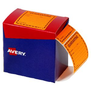 Avery Quarantine Labels 75 X 76.2 mm Orange