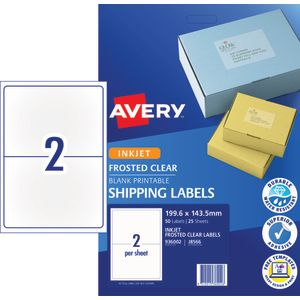 Avery Shipping Labels 199.6 x 143.5mm Clear 25 Pack