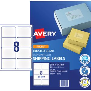 avery inkjet shipping labels clear 25 sheets 8 per page officeworks