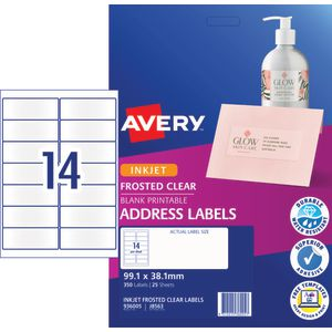Avery Inkjet Mailing Labels Clear 25 Sheets 14 Per Page