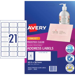 Avery Inkjet Mailing Labels Clear 25 Sheets 21 Per Page