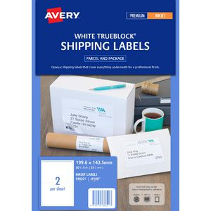 Avery Shipping Labels White 2UP 25 Sheet
