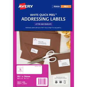 Avery Address Labels White 16 UP 25 Sheet
