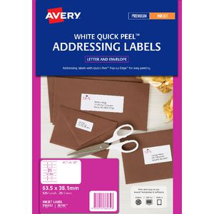 Avery Address Labels White 21 UP 25 Sheet