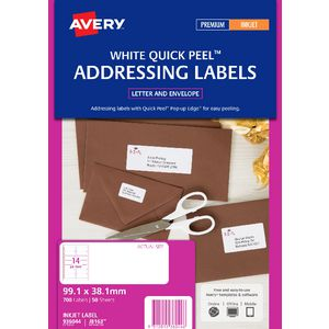 Avery Address Labels White 14 UP 50 Sheet