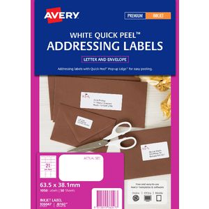 Avery Address Labels White 21 UP 50 Sheet