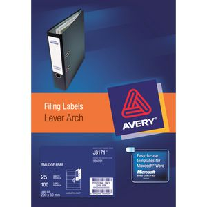 Avery Inkjet Lever Arch Labels White 25 Sheets 4 Per Page