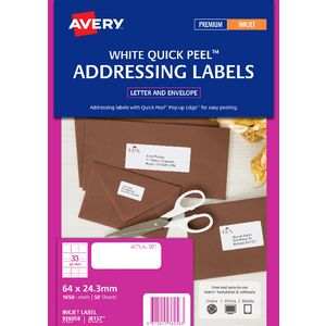 Avery Address Labels White 50 Sheets 33 Per Page