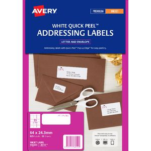 Avery inkjet Labels White 64 x 24.3mm 25 Pack