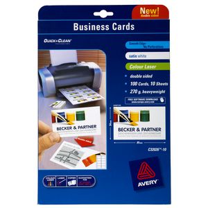 Avery Double Sided Colour Laser Business Cards 100 Pack