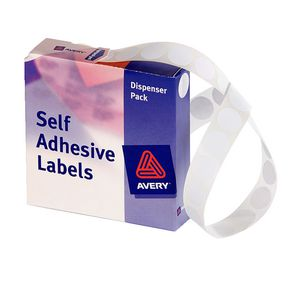 Avery Self Adhesive Round Labels White 14mm 1200 Pack