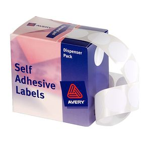 Avery Self Adhesive Round Labels White 24mm 550 Pack