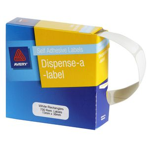 Avery Labels Dispenser Rectangle 13 x 36mm White 700 Pack