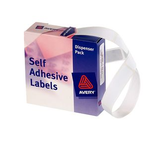 Avery Labels Dispenser Rectangle 13 x 49mm White 550 Pack