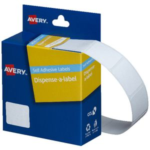 Avery Labels Dispenser Rectangle 19 x 24mm White 650 Pack