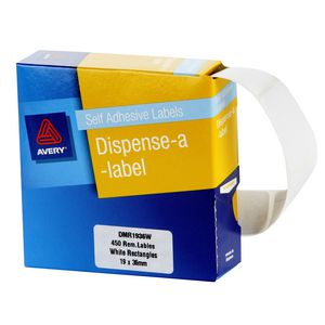 Avery 19 x 36mm Labels Dispenser Rectangle White 450 Pack