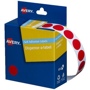 Avery Self-adhesive Round Labels Red 14mm 1050 Pack