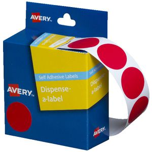 Avery self-adhesive Round Labels Red 24mm 500 Pack