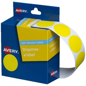 Avery self-adhesive Round Labels Yellow 24mm 500 Pack