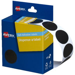 Avery Dispenser Labels Circle 24mm Black 500 Pack