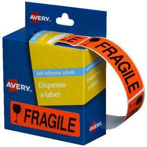 Avery Pre Printed Dispenser Labels Fragile 125 Pack