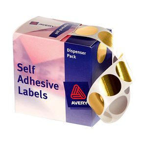 Avery Dispenser Labels Circle 24mm Gold 250 Pack