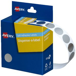 Avery Dispenser Labels 14mm Silver 500 Pack