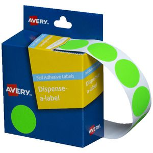 Avery Self Adhesive Round Labels Fluro Green 24mm 350 Pack