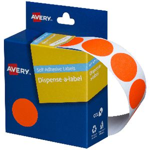Avery Dispenser Labels 24mm Red 350 Pack