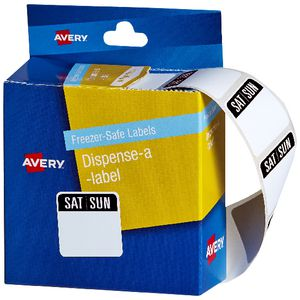 Avery Dispenser Labels Saturday/Sunday Red 100 Pack