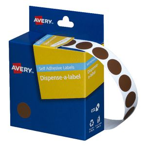 Avery Dispenser Labels Circle Brown 14mm 1050 Pack