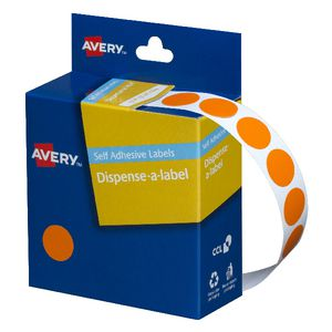 Avery Dispenser Labels Circle Orange 14mm 1050 Pack