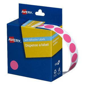 Avery Dispenser Labels Circle Pink 14mm 1050 Pack