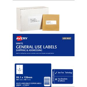 Avery General Use Labels White 100 Sheet