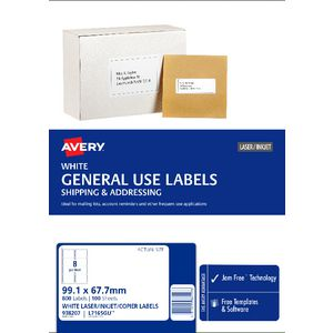 Avery general use labels white 8 up 100 sheet officeworks for Avery 8 up labels