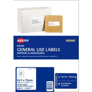 Avery General Use Labels White 12 UP 100 Sheet