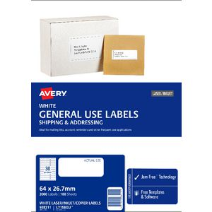 Avery General Use Labels White 30 UP 100 Sheet