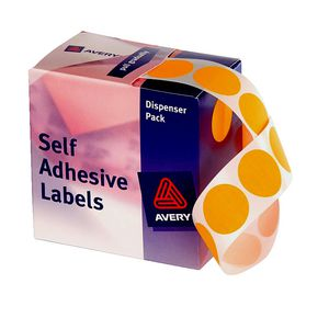 Avery Self Adhesive Round Labels Orange 24mm 500 Pack