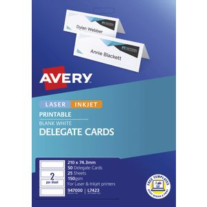 Avery Delegate Cards 50 Pack