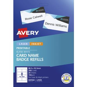 Avery Name Badge Refill Cards 200 Pack