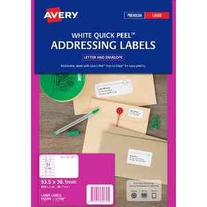 Avery Laser Address Labels White 20 Sheets 21 Per Page