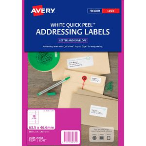 Avery Laser Address Labels White 20 Sheets 18 Per Page
