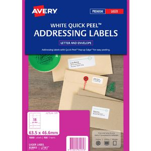 Avery Laser Address Labels White 100 Sheets 18 Per Page