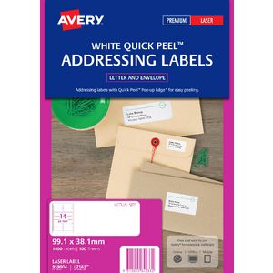 Avery Laser Address Labels White 100 Sheets 14 Per Page