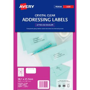 Avery Laser Address Labels Clear 25 Sheets 65 Per Page